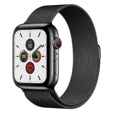 New Apple Watch Series 5 GPS + LTE 44mm Black Stainless Steel Case with Black Sport Band (MWWK2)