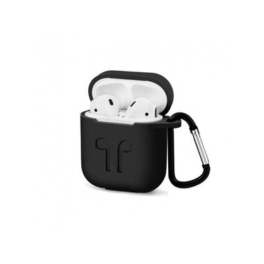 Чехол-карабин Silicon case for AirPods Black
