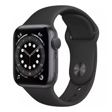 New Apple Watch Series 6 GPS 44mm Spase Gray Aluminum Case with Black Sport Band (M00H3)