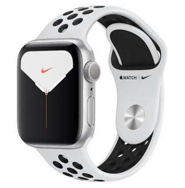 New Apple Watch Nike Series 5 GPS 44mm Silver Aluminum w. Pure Platinum/Black Sport Band (MX3V2)