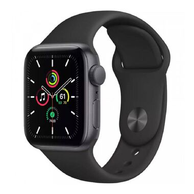 New Apple Watch Series SE GPS 40mm Spase Gray Aluminum Case with Black Sport Band (MYDP2)
