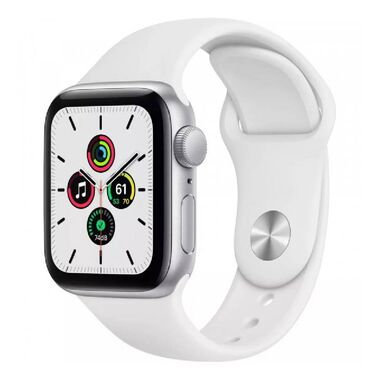 New Apple Watch Series SE GPS 44mm Silver Aluminum Case with White Sport Band (MYDQ2)