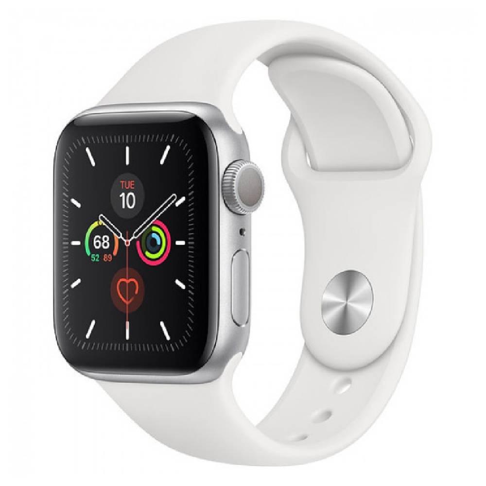 New Apple Watch Series 5 GPS 40mm Silver Aluminum Case with White Sport Band (MWV62)