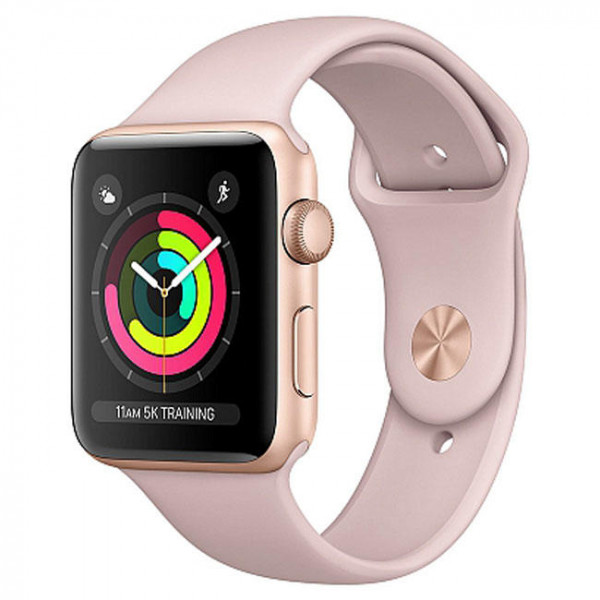 New Apple Watch Series 3 GPS 42mm Gold Aluminum Case with Pink Sand Sport Band (MQL22)