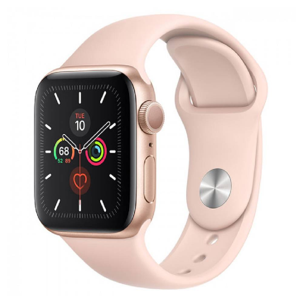 New Apple Watch Series 5 GPS 44mm Gold Aluminum Case with Pink Sand Sport Band (MWVE2)